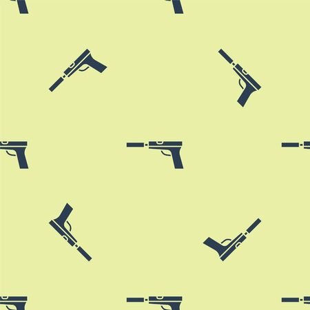 Blue Pistol or gun with silencer icon isolated seamless pattern on yellow background. Vector Illustration.