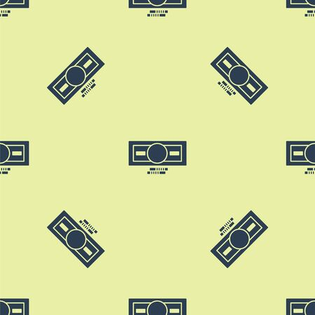 Blue Stacks paper money cash icon isolated seamless pattern on yellow background. Money banknotes stacks. Bill currency. Vector Illustration.