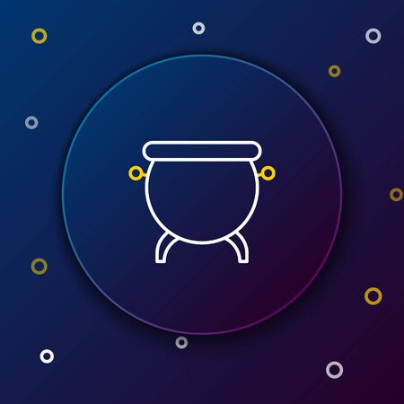 Line Witch cauldron icon isolated on blue background. Happy Halloween party. Colorful outline concept. Vector.