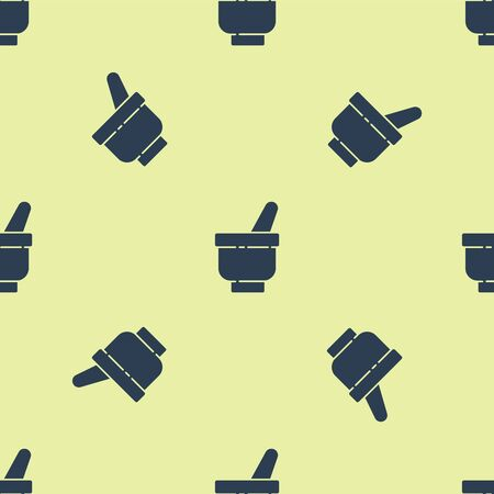 Blue Magic mortar and pestle icon isolated seamless pattern on yellow background. Vector Illustration. Çizim