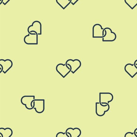 Blue Two Linked Hearts icon isolated seamless pattern on yellow background. Romantic symbol linked, join, passion and wedding. Happy Women Day. Vector Illustration.