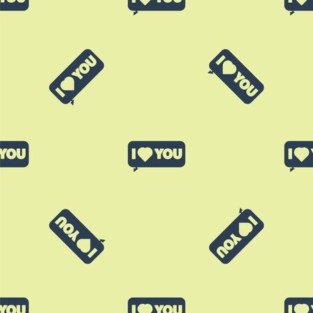 Blue Speech bubble with text I love you icon isolated seamless pattern on yellow background. 8 March. International Happy Women Day. Vector Illustration. 일러스트