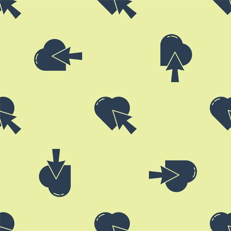 Blue Heart and cursor click icon isolated seamless pattern on yellow background. Online dating. Click on like button. International Happy Women Day. Vector Illustration.