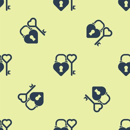Blue Castle in the shape of a heart and key in heart shape icon isolated seamless pattern on yellow background. Love symbol and keyhole sign. Vector Illustration.