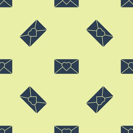 Blue Envelope with 8 March icon isolated seamless pattern on yellow background. Message love. Letter love and romance. International Happy Women Day. Vector Illustration.