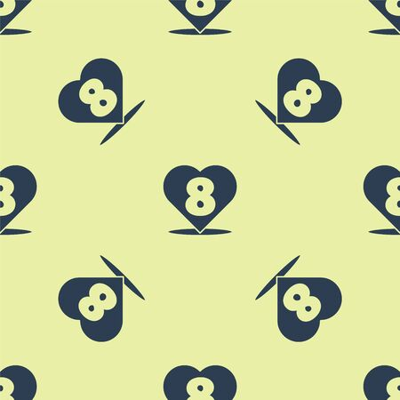 Blue Heart with 8 March icon isolated seamless pattern on yellow background. Romantic symbol linked, join, passion and wedding. Happy Women Day. Vector Illustration.