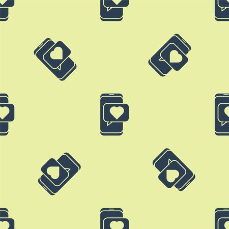 Blue Online dating app and chat icon isolated seamless pattern on yellow background. International Happy Women Day. Vector Illustration.