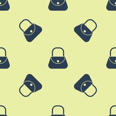Blue Handbag icon isolated seamless pattern on yellow background. Female handbag sign. Glamour casual baggage symbol. Vector Illustration.