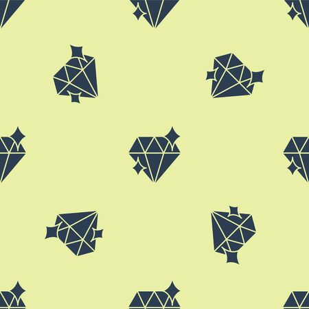 Blue Diamond icon isolated seamless pattern on yellow background. Jewelry symbol. Gem stone. 8 March. International Happy Women Day. Vector Illustration.