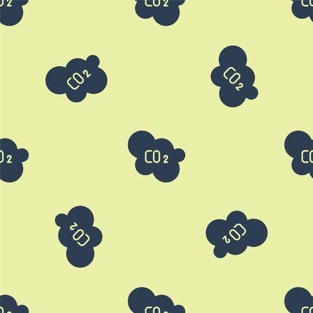 Blue CO2 emissions in cloud icon isolated seamless pattern on yellow background. Carbon dioxide formula, smog pollution concept, environment concept. Vector Illustration. Ilustração