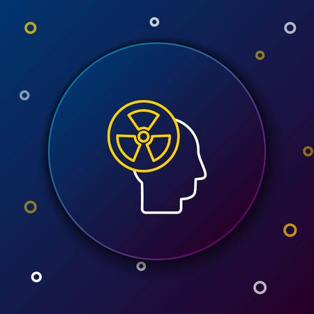Line Silhouette of a human head and a radiation symbol icon isolated on blue background. Colorful outline concept. Vector.