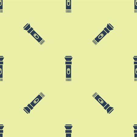 Blue Flashlight icon isolated seamless pattern on yellow background. Vector Illustration.