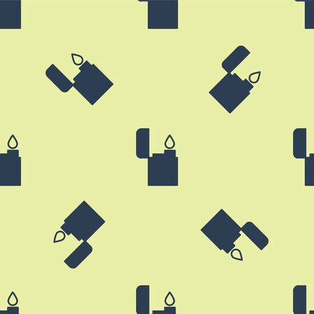 Blue Lighter icon isolated seamless pattern on yellow background. Vector Illustration. 向量圖像