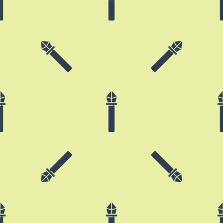 Blue Magic staff icon isolated seamless pattern on yellow background. Magic wand, scepter, stick, rod. Vector Illustration. Ilustracja