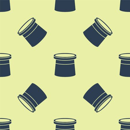 Blue Magician hat icon isolated seamless pattern on yellow background. Magic trick. Mystery entertainment concept. Vector Illustration.