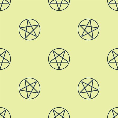 Blue Pentagram in a circle icon isolated seamless pattern on yellow background. Magic occult star symbol. Vector Illustration. Illustration