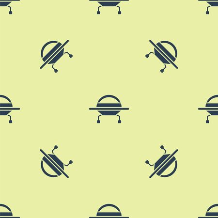 Blue UFO flying spaceship icon isolated seamless pattern on yellow background. Flying saucer. Alien space ship. Futuristic unknown flying object. Vector Illustration.
