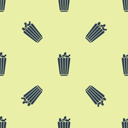 Blue Popcorn in cardboard box icon isolated seamless pattern on yellow background. Popcorn bucket box. Vector Illustration.