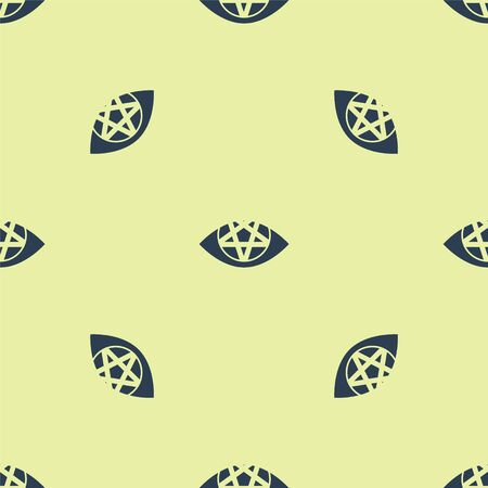 Blue Pentagram icon isolated seamless pattern on yellow background. Magic occult star symbol. Vector Illustration. 写真素材 - 150485420