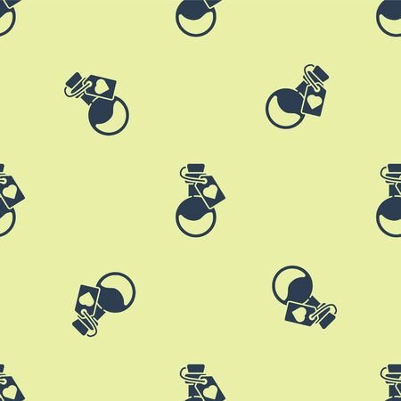 Blue Bottle with love potion icon isolated seamless pattern on yellow background. Valentines day symbol. Vector Illustration.
