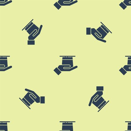 Blue Magician hat in hand icon isolated seamless pattern on yellow background. Magic trick. Mystery entertainment concept. Vector Illustration.