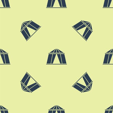 Blue Circus tent icon isolated seamless pattern on yellow background. Carnival camping tent. Amusement park. Vector Illustration.