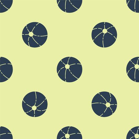 Blue Beach ball icon isolated seamless pattern on yellow background. Vector Illustration. Illustration