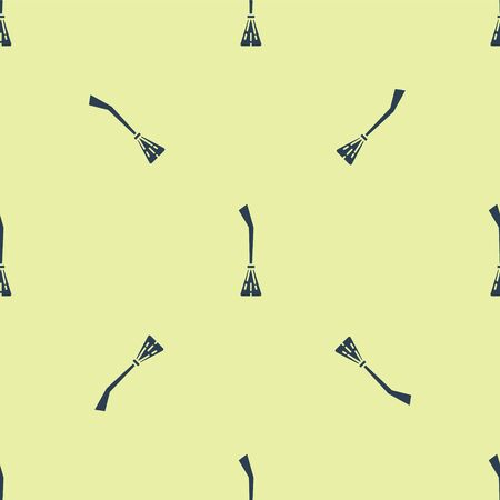 Blue Witches broom icon isolated seamless pattern on yellow background. Happy Halloween party. Vector Illustration.
