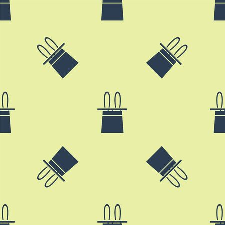 Blue Magician hat and rabbit ears icon isolated seamless pattern on yellow background. Magic trick. Mystery entertainment concept. Vector Illustration. Vettoriali