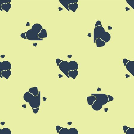 Blue Heart icon isolated seamless pattern on yellow background. Romantic symbol linked, join, passion and wedding. Valentine day symbol. Vector Illustration.