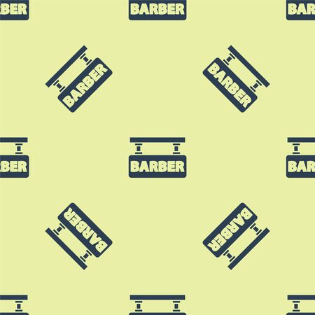 Blue Barbershop icon isolated seamless pattern on yellow background. Hairdresser logo or signboard. Vector Illustration. 写真素材 - 150483966