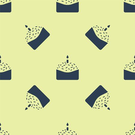 Blue Easter cake and candle icon isolated seamless pattern on yellow background. Happy Easter. Vector Illustration.