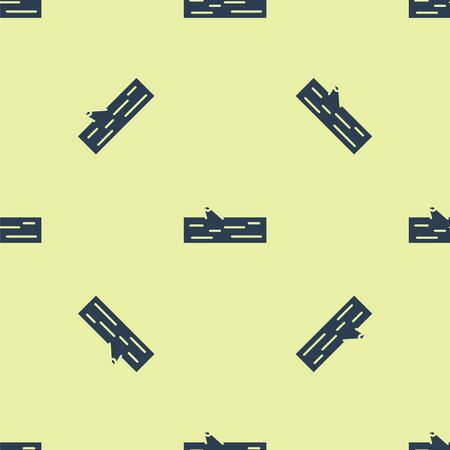 Blue Wooden log icon isolated seamless pattern on yellow background. Vector Illustration.