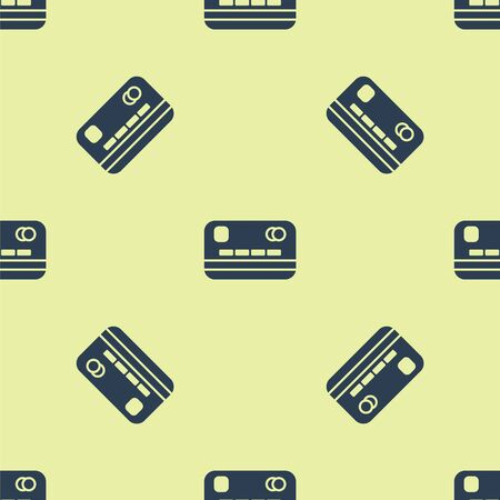 Blue Credit card icon isolated seamless pattern on yellow background. Online payment. Cash withdrawal. Financial operations. Shopping sign. Vector Illustration. 일러스트