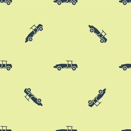 Blue Car icon isolated seamless pattern on yellow background. Vector Illustration. Illustration