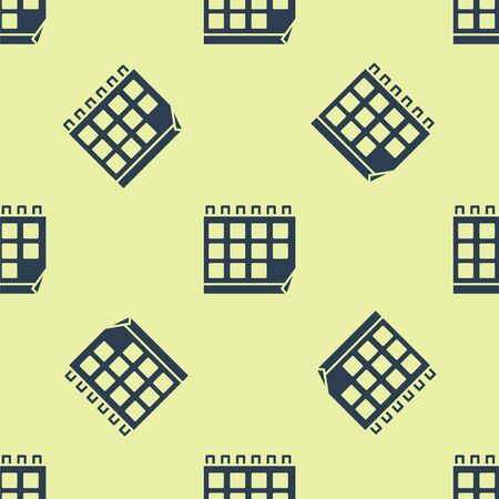 Blue Calendar icon isolated seamless pattern on yellow background. Event reminder symbol. Vector Illustration.