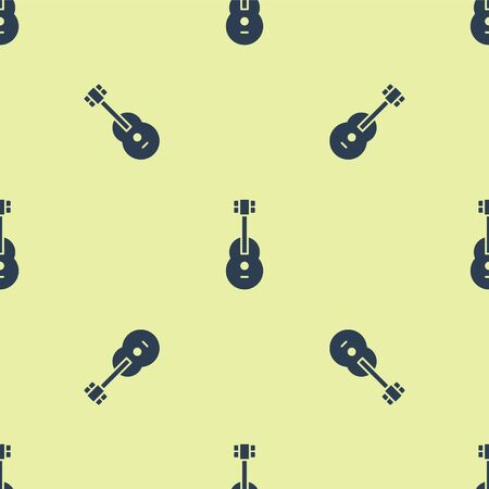 Blue Guitar icon isolated seamless pattern on yellow background. Acoustic guitar. String musical instrument. Vector Illustration. Stock fotó - 150485486