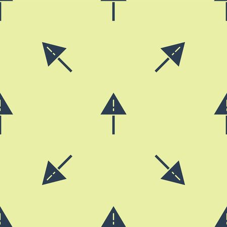 Blue Exclamation mark in triangle icon isolated seamless pattern on yellow background. Hazard warning sign, careful, attention, danger warning sign. Vector Illustration.