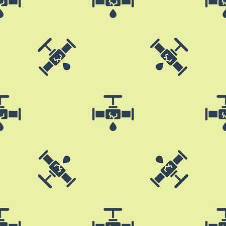 Blue Broken metal pipe with leaking water icon isolated seamless pattern on yellow background. Vector Illustration.