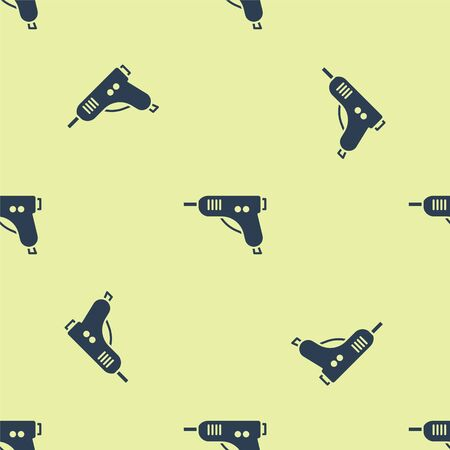 Blue Electric hot glue gun icon isolated seamless pattern on yellow background. Hot pistol glue. Hot repair work appliance silicone. Vector Illustration.
