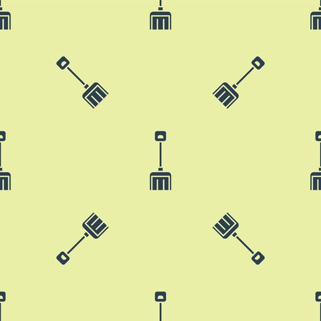 Blue Snow shovel icon isolated seamless pattern on yellow background. Vector Illustration.