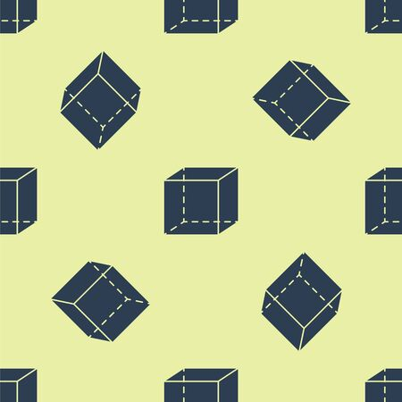 Blue Geometric figure Cube icon isolated seamless pattern on yellow background. Abstract shape. Geometric ornament. Vector Illustration. Çizim