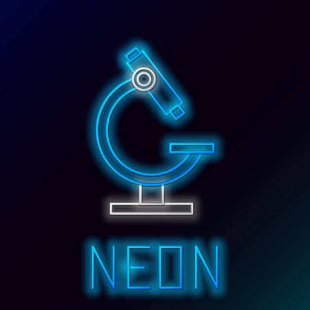 Glowing neon line Microscope icon isolated on black background. Chemistry, pharmaceutical instrument, microbiology magnifying tool. Colorful outline concept. Vector. Illustration