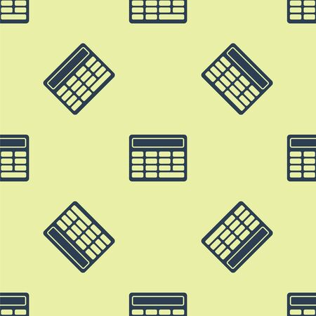 Blue Calculator icon isolated seamless pattern on yellow background. Accounting symbol. Business calculations mathematics education and finance. Vector Illustration.