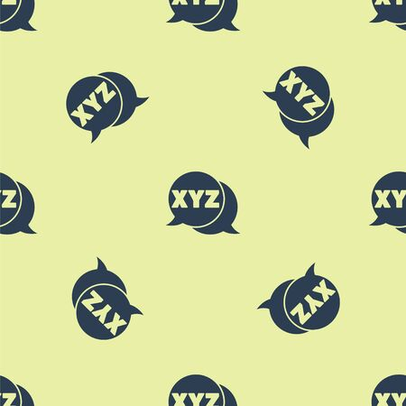 Blue XYZ Coordinate system icon isolated seamless pattern on yellow background. XYZ axis for graph statistics display. Vector Illustration.