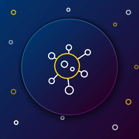 Line Virus icon isolated on blue background. Corona virus 2019-nCoV. Bacteria and germs, cell cancer, microbe, fungi. Colorful outline concept. Vector. 일러스트