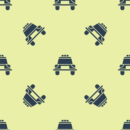 Blue Police car and police flasher icon isolated seamless pattern on yellow background. Emergency flashing siren. Vector Illustration. Banque d'images - 150501486