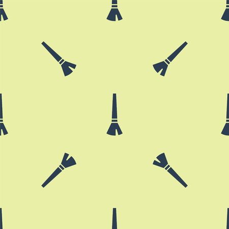 Blue Paint brush icon isolated seamless pattern on yellow background. Vector Illustration.