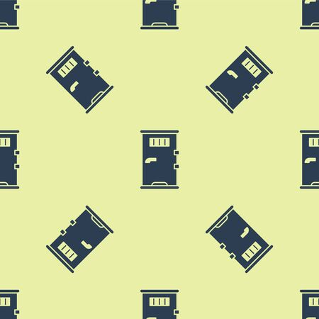 Blue Prison cell door with grill window icon isolated seamless pattern on yellow background. Vector Illustration. Stock Illustratie