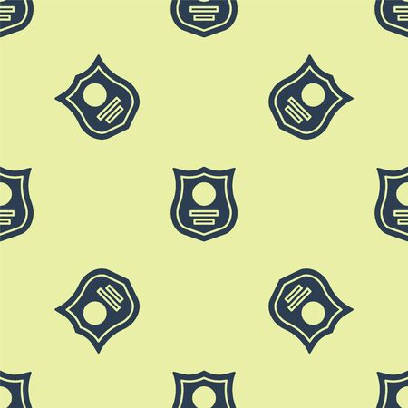 Blue Police badge icon isolated seamless pattern on yellow background. Sheriff badge sign. Vector Illustration. Banque d'images - 150501518